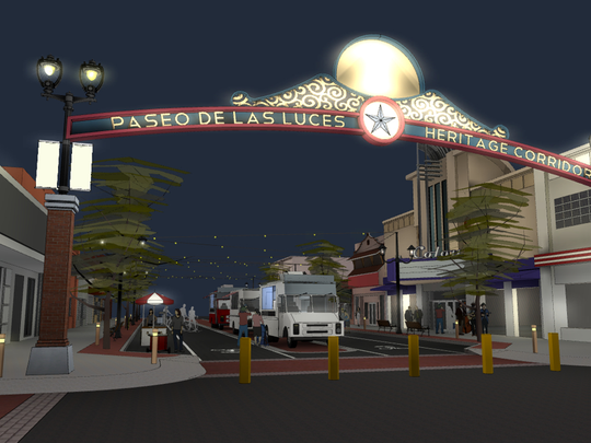 An artist's rendering of what the Paseo de las Luces Heritage Corridor could look like.