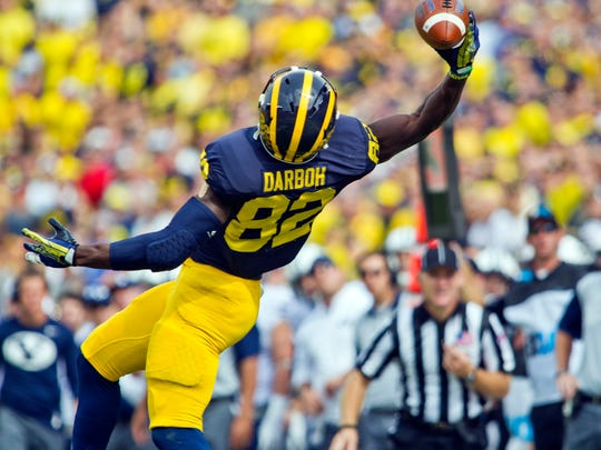 Amara Darboh makes a one-handed catch against BYU in