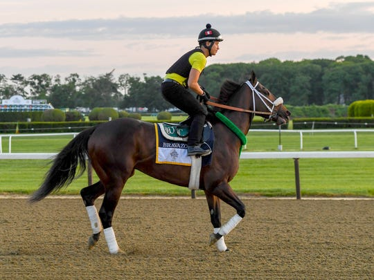 Bravazo walks on to the main track before he trains in preparation for the 150th running of the Belmont Stakes at Belmont Park.