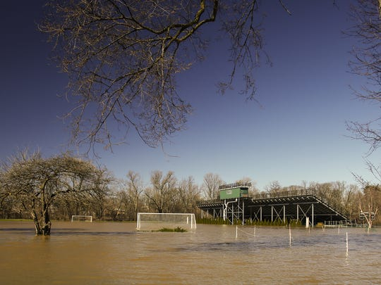 Soccer goals are under water at DeMartin Soccer Complex