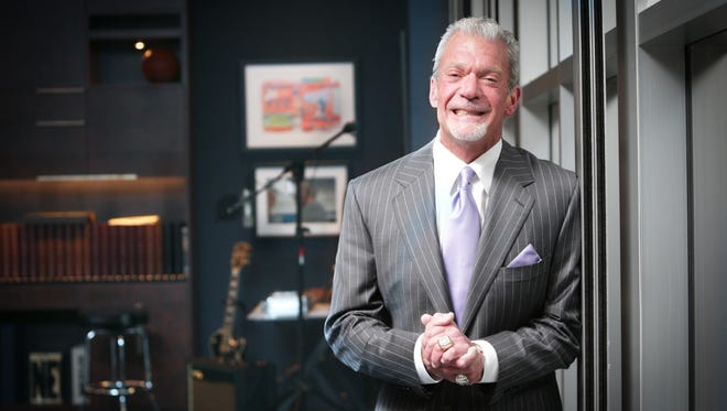 FILE -- Colts owner and CEO Jim Irsay, in his office, at the Indiana Farm Bureau Football Center.