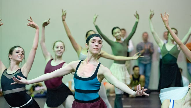 Grace Shivers (front) rehearses with the Cincinnati Ballet dancers.