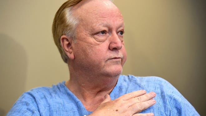 Joey Spann, minister at Burnette Chapel Church of Christ, speaks to the media at Vanderbilt University Medical Center in Nashville on Tuesday, Sept. 26, 2017. Spann was shot in the chest and hand during a shooting at the church Sunday, Sept. 24, 2017.