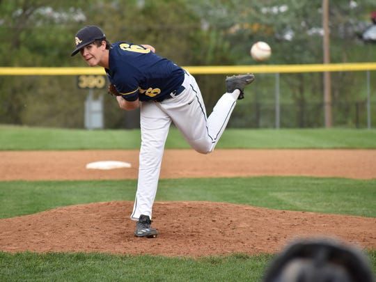 Greencastle's Nathan Starliper throws a pitch during a Mid Penn Colonial Division baseball game on Tuesday, May 2, 2017 in Waynesboro. The Indians beat Greencastle 7-2.