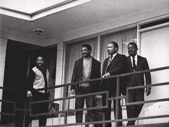 Martin Luther King Jr. stands with other civil rights leaders on the balcony of the Lorraine Motel in Memphis, Tenn., on April 3, 1968, a day before he was assassinated at approximately the same place. From left are Hosea Williams, Jesse Jackson, King, and Ralph Abernathy.