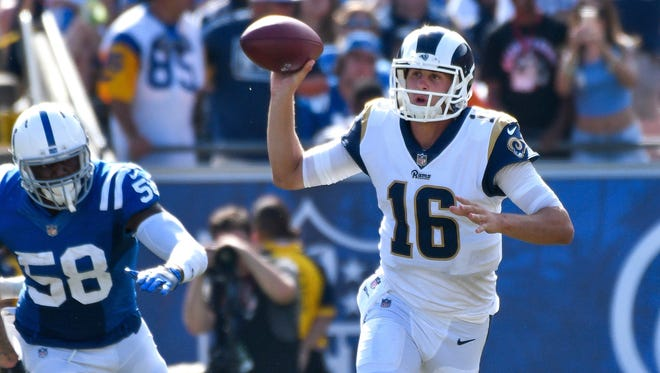 Rams quarterback Jared Goff completed 21-of-29 passes for 306 yards and a TD in Week 1 vs. Indianapolis.