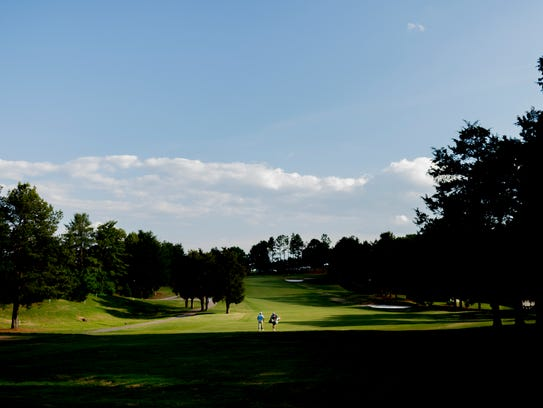 A view of the ninth fairway during the first round