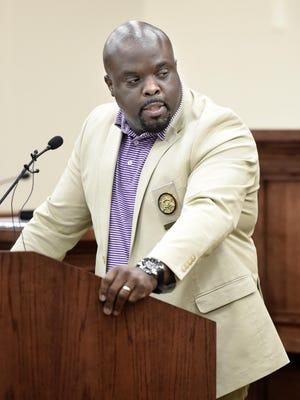 Burke County Sheriff Alfonzo Williams speaks during the Burke County Sheriff's Office Awards Ceremony in Waynesboro, Ga., in November.