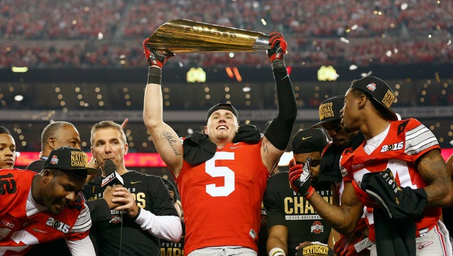 Ohio State celebrates after winning the national championship last yeat. The college football bowl season kicks off Dec. 21 and runs through Jan. 11, when a new national champion will be crowned.