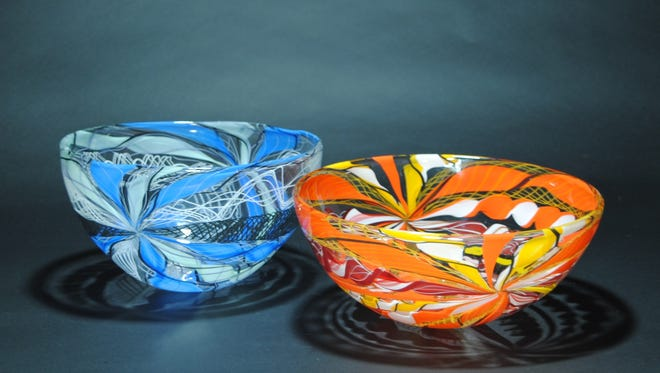 Blown glass axis bowls by Gabriel and Terry Bloodworth