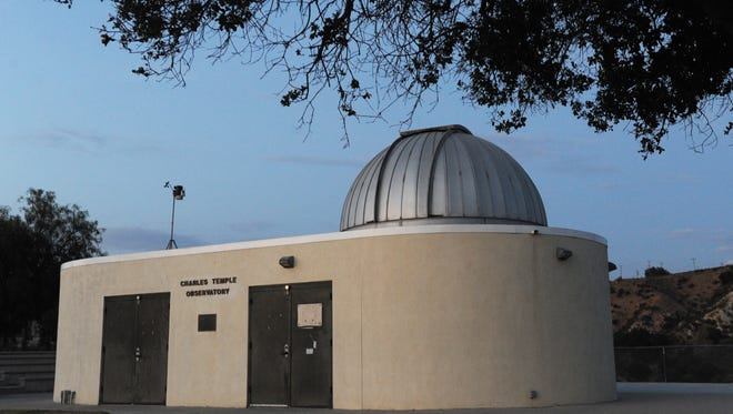 The observatory at Moorpark College will be the site of a Ventura County Astronomical Society presentation Sunday night, weather permitting.