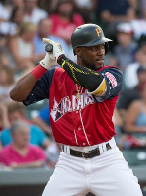 Starling Marte hits for the Indianapolis Indians.