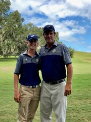 Aucilla Christian junior Ryan Jackson, next to his father and coach David Jackson, captured a district title on Wednesday at Southwood Golf Course.