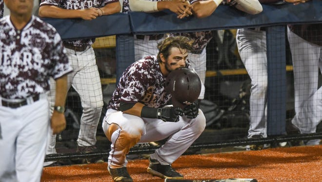 Missouri State infielder Matt Brown (18), squatting, reacts as Missouri State is defeated by Tennessee Tech in an elimination game in the NCAA Oxford Regional, at Oxford-University Stadium in Oxford, Miss. on Sunday, June 3, 2018. Tennessee Tech won 2-1. (Bruce Newman, Oxford Eagle via AP)