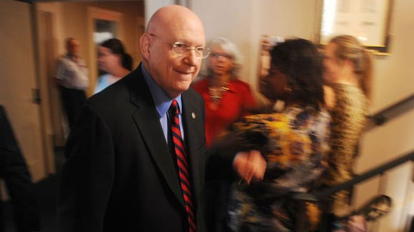 University of Miss Chancellor Dan Jones walks to a press conference at the Lyceum in Oxford, Miss. on Thursday, April 2, 2015.