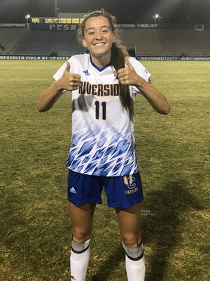 Jane Jordan, a Palm Desert grad and freshman on the UC-Riverside women's soccer team, gives the thumb's up after she scored her first goal on Friday.