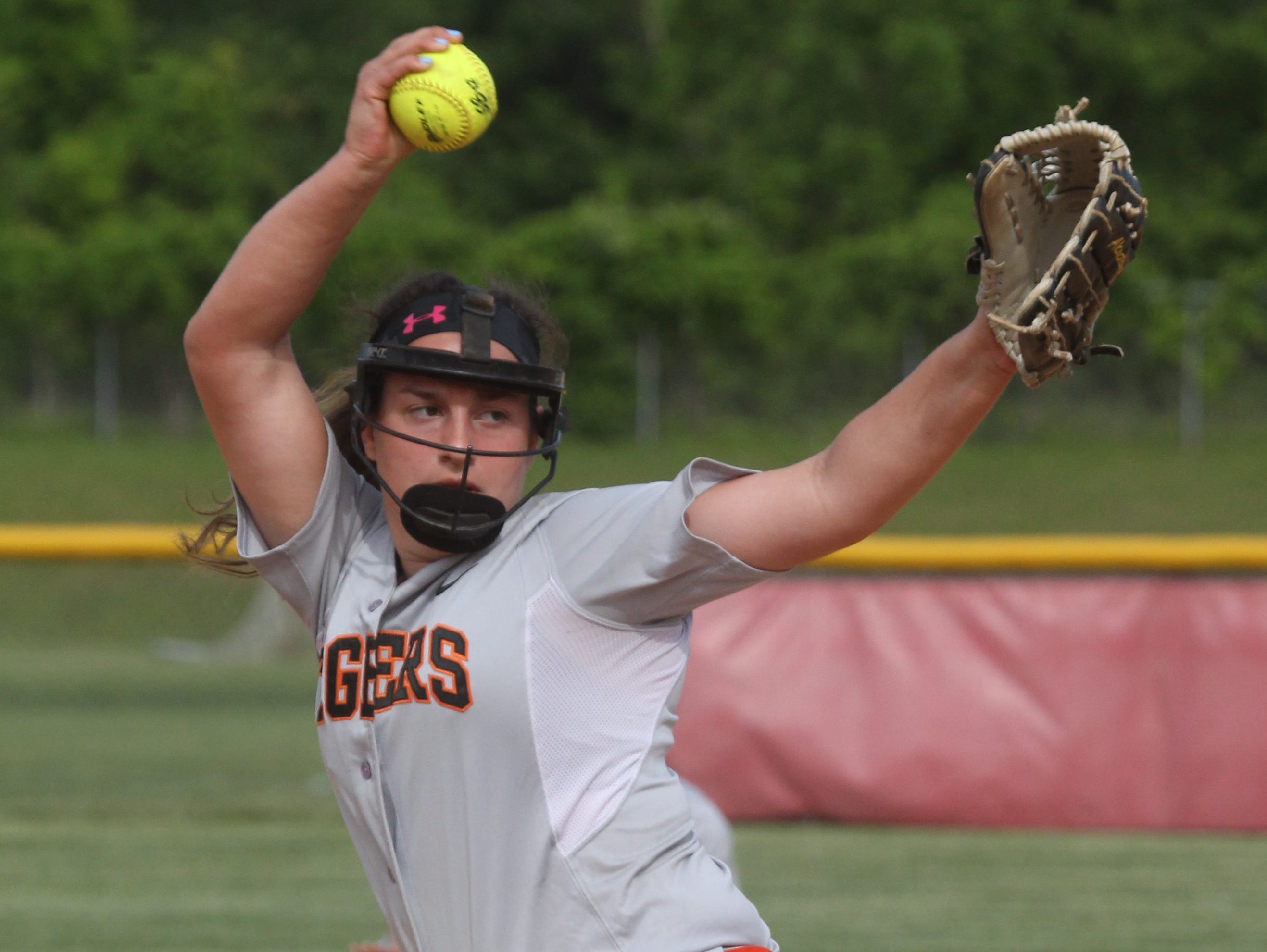 Tuckahoe's Cassie McGrath delivers a pitch during the Class C softball section final with Haldane at North Rockland May 29, 2015. Tuckahoe won 3-2.