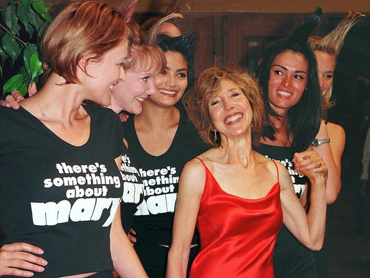 "Lin Shaye, in red, at the premiere of ""There's Something About Mary"" in 1998. Shaye played Magda, Cameron Diaz's aggressively tanned roommate. She has played iconic roles in several Farrelly brothers movies."