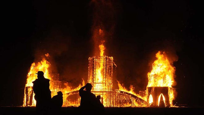Photo by Andy Barron   The temple burns on the last day of Burning Man on the Black Rock Desert on Sept. 4, 2011.