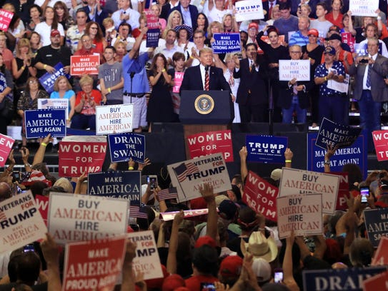 President Trump addresses the crowd during a rally