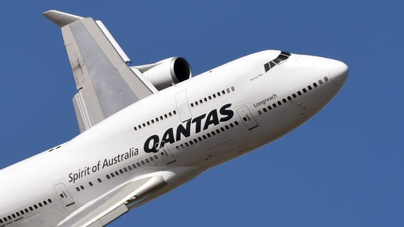 A Qantas Boeing 747 during a fly past at the Formula