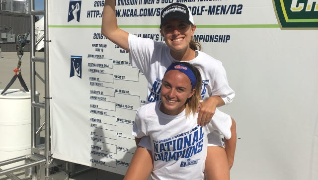 Irondequoit graduates Meghan O'Brien (top) and Meghan Vadala were key players for Division II NCAA lacrosse champion Florida Southern, which is coached by Pittsford Mendon graduate Kara Reber.
