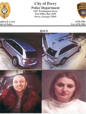 This composite document released by Perry, Ga., Police Department shows photos of Blake Fitzgerald and Brittany Nicole Harper of Joplin, Mo., who are wanted in connection with a series of robberies and kidnappings in Georgia and Alabama. (Perry Police Department via AP)
