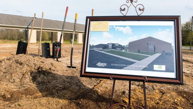 The groundbreaking awaits at the new location of Living Faith Alliance Church on Lincoln Ave on Wednesday, April 12.