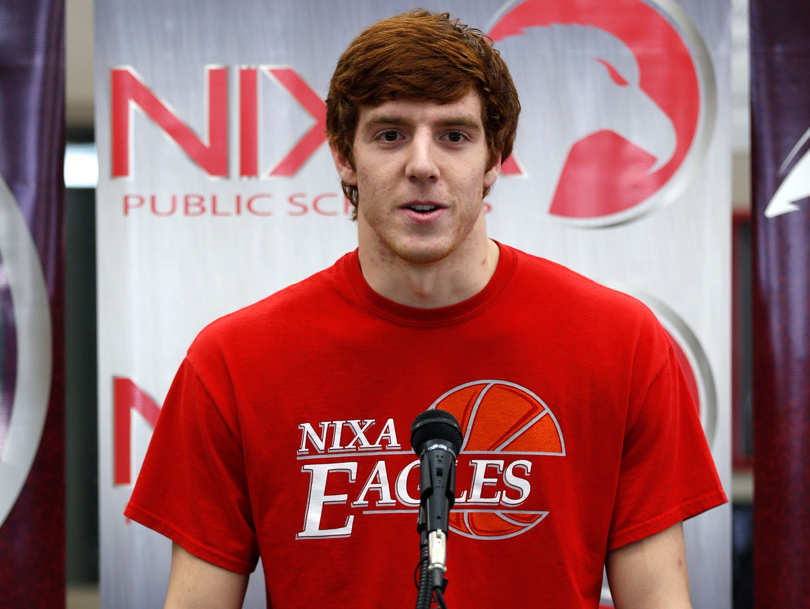 Nixa High School senior Chase Allen announces his decision to play football at Iowa State during a press conference on Friday, Jan. 29, 2016. Allen chose Iowa State over Michigan, Nebraska and 16 other NCAA Division I teams.