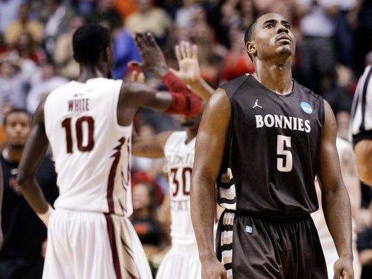 Jordan Gathers (5) is a transfer to Butler from St. Bonaventure.