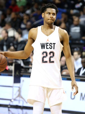 The West team's Marques Bolden #22 warms up against the East team during a high school basketball game in the Jordan Brand Classic on Friday, April 15, 2016 in Brooklyn, NY.