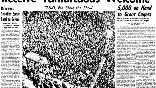 Front cover of the Manitowoc Herald-Times on Monday, March 18, 1968, covering the welcome home celebration for Lincoln High School, WIAA state basketball champions.