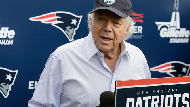 FILE - In this June 7, 2018, file photo, New England Patriots owner Robert Kraft speaks with reporters following an NFL football minicamp practice, in Foxborough, Mass. Police in Florida have charged New England Patriots owner Robert Kraft with misdemeanor solicitation of prostitution, saying they have videotape of him paying for a sex act inside an illicit massage parlor.  Jupiter police told reporters Friday, Feb. 22, 2019, that the 77-year-old Kraft has not been arrested. (AP Photo/Steven Senne, File)