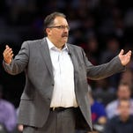 Dec 14, 2015; Auburn Hills, MI, USA; Detroit Pistons head coach Stan Van Gundy reacts to a technical foul called during the first quarter of the game against the Los Angeles Clippers at The Palace of Auburn Hills.