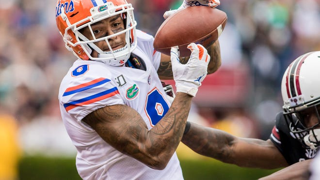 Oct 19, 2019; Columbia, SC, USA; Florida Gators wide receiver Trevon Grimes (8) makes a reception against the South Carolina Gamecocks at Williams-Brice Stadium. Mandatory Credit: Jeff Blake-USA TODAY Sports
