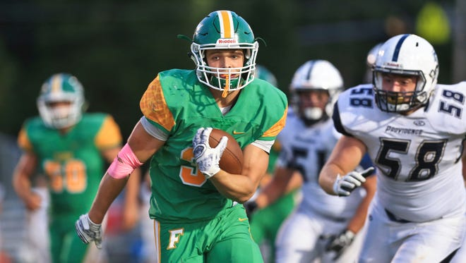 Floyd Central's Jason Cundiff heads into the end zone in the Highlanders' win over Providence earlier this season.