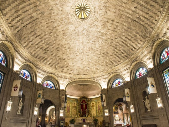 The dome that Raphael Guastavino designed in the Basilica of St. Lawrence in Asheville is the largest free-standing elliptical dome in North America.