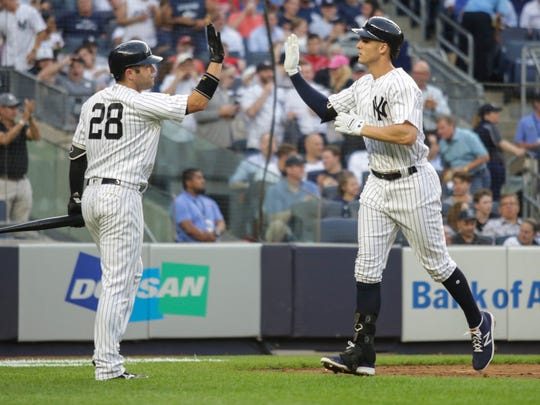 New York Yankees first baseman Greg Bird (33) is congratulated by catcher Austin Romine (28) after hitting a home run in the second inning against the Washington Nationals at Yankee Stadium.