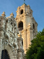 Front Ornate Carvings Facade Steeple Cross Mission Dolores Saint Francis De Assis San Francisco California.