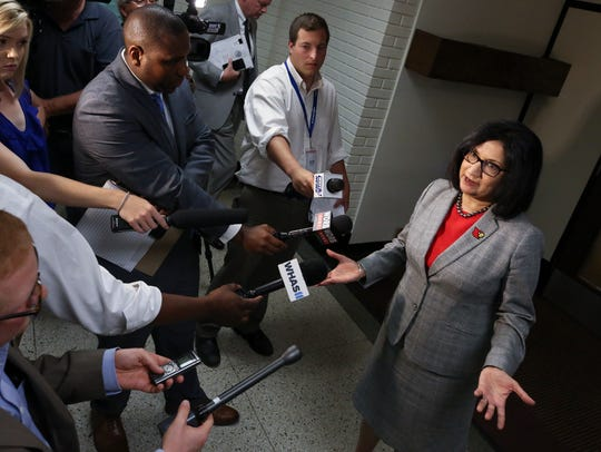 U of L President Neeli Bendapudi spoke to the media