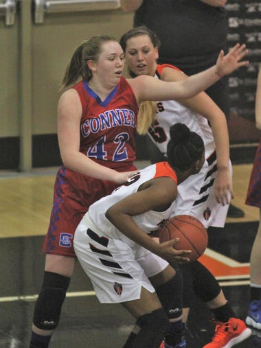 Conner junior Maddie Drummonds closely guards Ryle's