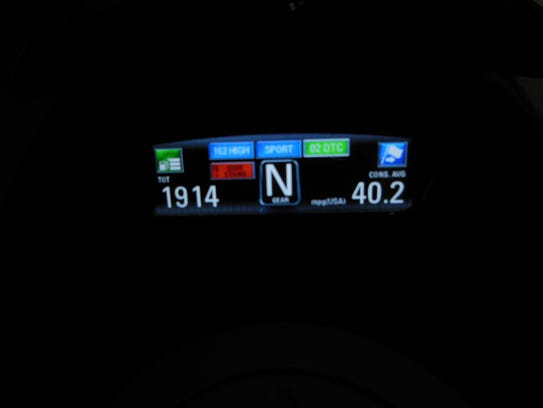 In the dark, the instrument panel changes to white on black.