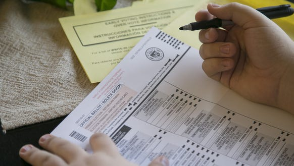 Tyler Mercado of Goodyear fills out his mail-in ballot