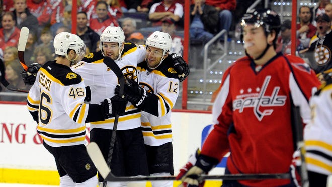 Bruins forward Jarome Iginla, left, had two goals in the 4-2 win over the Capitals.