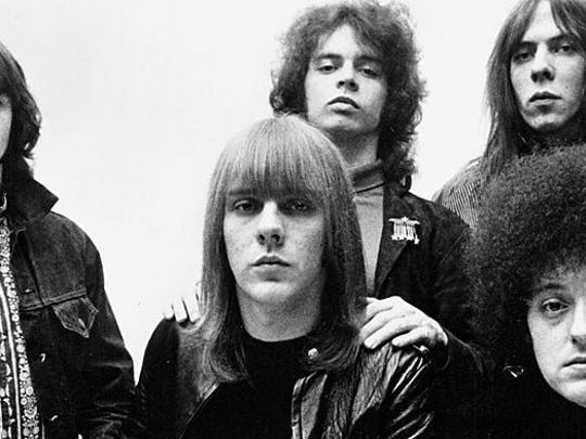 "The MC5 appear in an old publicity photo; back row, from left: Michael Davis, Wayne Kramer, Fred ""Sonic"" Smith. Front row: Dennis Thompson, left, Rob Tyner."