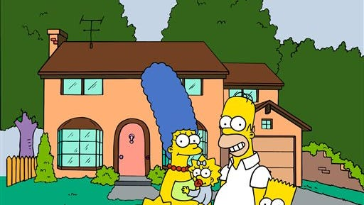 """This undated image from files, provided by Fox Broadcasting from """"The Simpsons,"""" shows the popular cartoon family posing in front of their home, from left, Lisa , Marge , Maggie, Homer and Bart Simpson.  University students have been studying Homer's """"The Odyssey"""" for centuries. More recently, Homer Simpson's """"Odyssey,"""" and a quarter-century of episodes from the animated sitcom have been undergoing similar scrutiny at several college campuses around the country."""