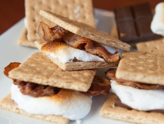 Applewood smoked bacon smores are displayed at the