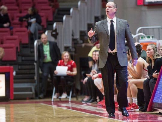 FILE -- Ball State's Brady Sallee coaches against Miami on Jan. 3, 2018 in Worthen Arena. The women's basketball team released its full schedule for the 2019-20 season, in which Sallee will be coaching in his eighth year at Ball State.