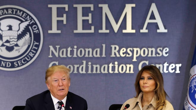 President Trump and first lady Melania Trump at FEMA's headquarters, June 6, 2018.