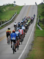 Riders on the 100-mile route of the Hotter 'N Hell